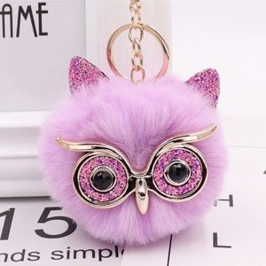Accessories - Light Pink/Gold Hairball Pom Pom Keychain